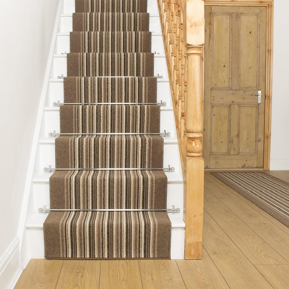 Beige Stripe Stair Carpet Runner Primos