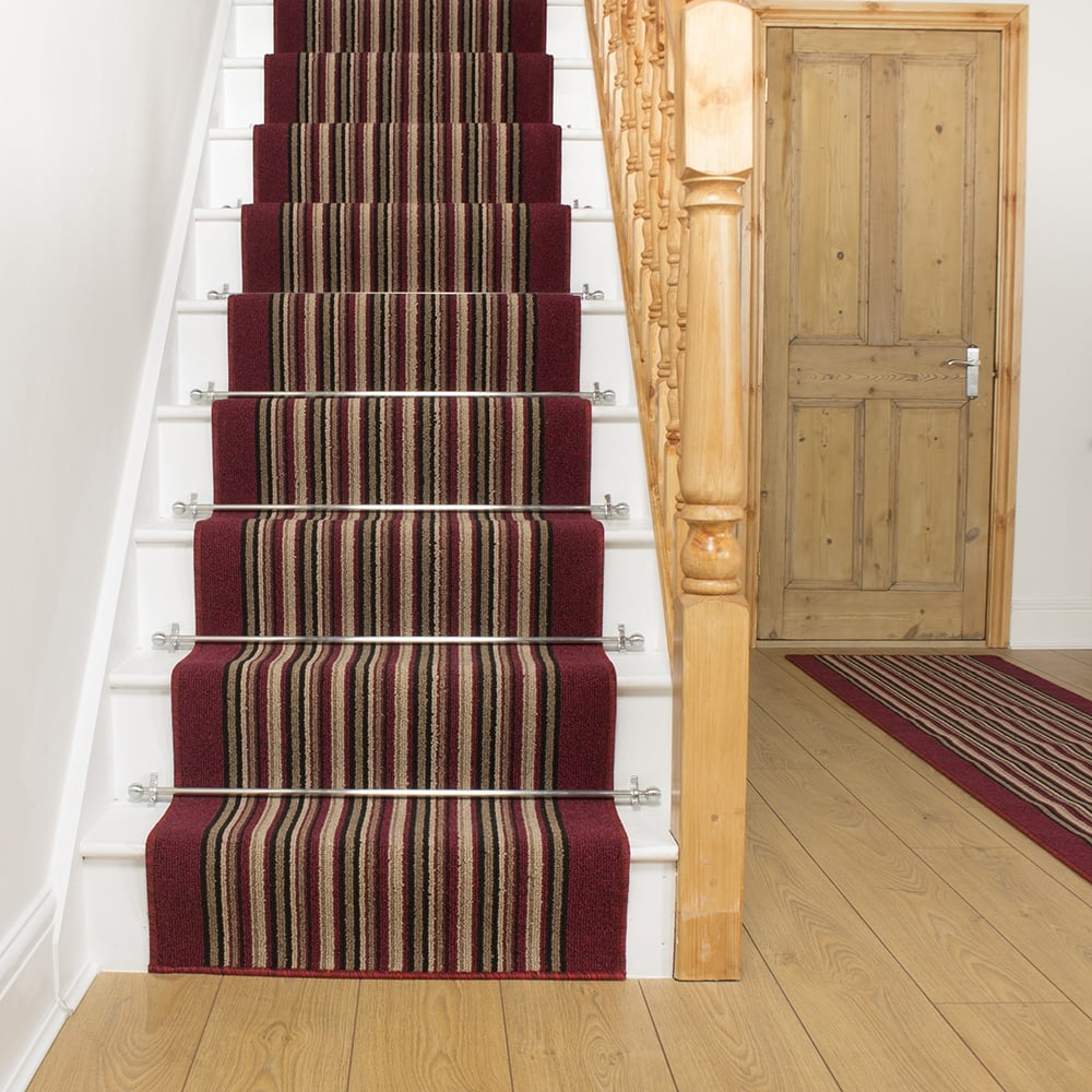 Red Stripe Stair Carpet Runner Primos