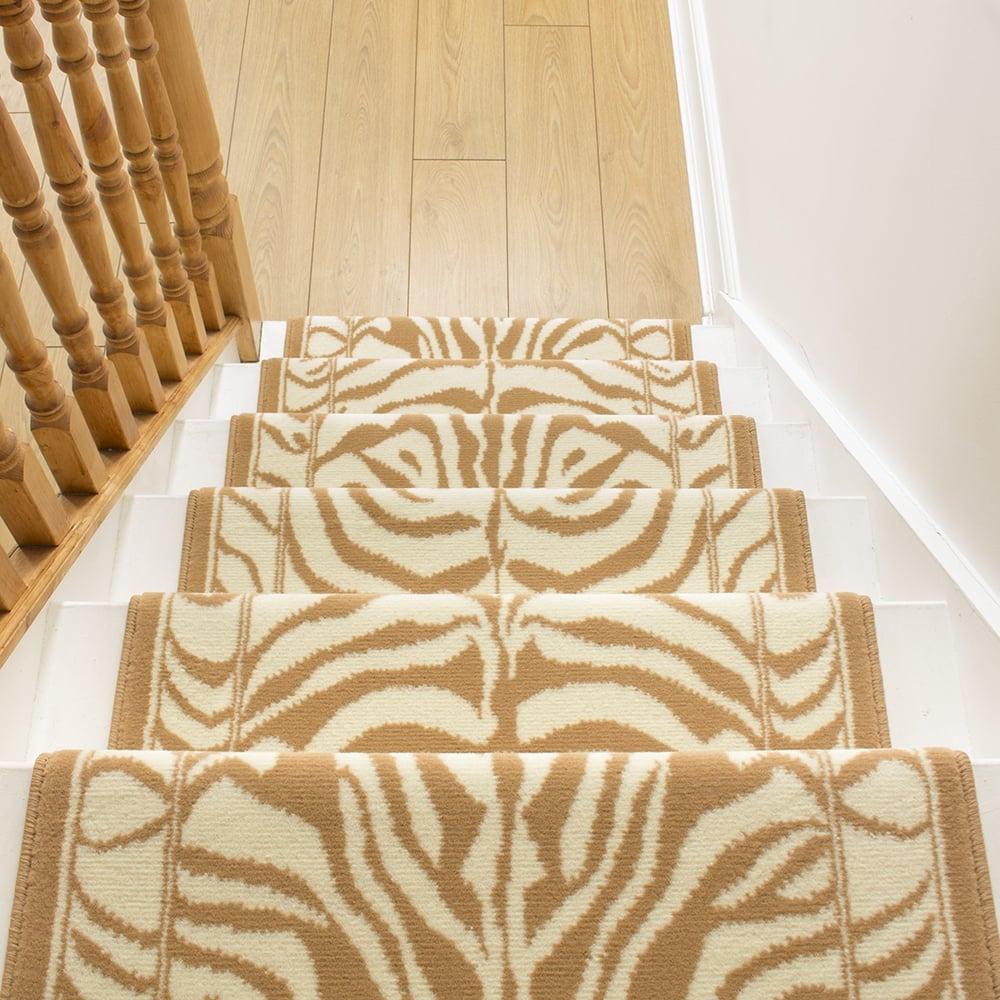 Animal Print Rug Runners For Stairs: Cream Stair Carpet Runner Zebra