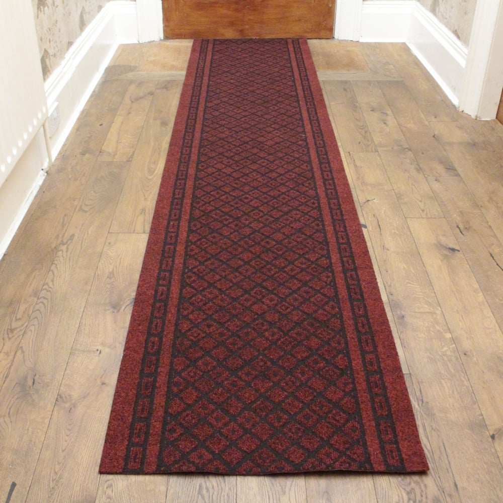 Red Hallway Commercial Barrier Mat Carpet Runner