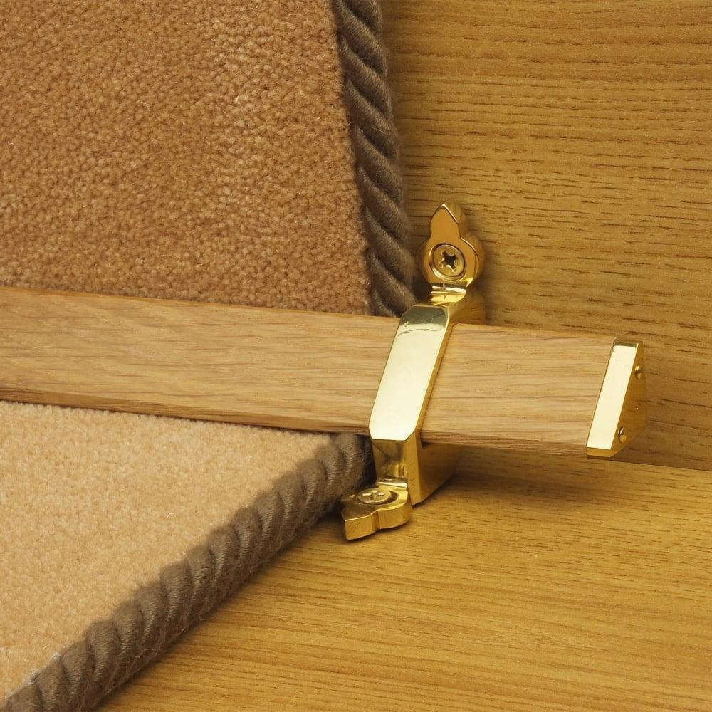 Tudor Brass Finish Light Wood Stair Carpet Runner Rods