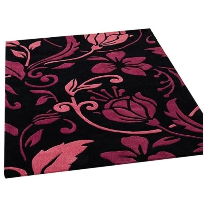 black pink flowers infinite rug carpet runners uk. Black Bedroom Furniture Sets. Home Design Ideas