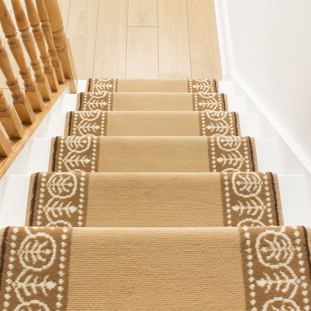 motif beige stair carpet runner for narrow staircase. Black Bedroom Furniture Sets. Home Design Ideas