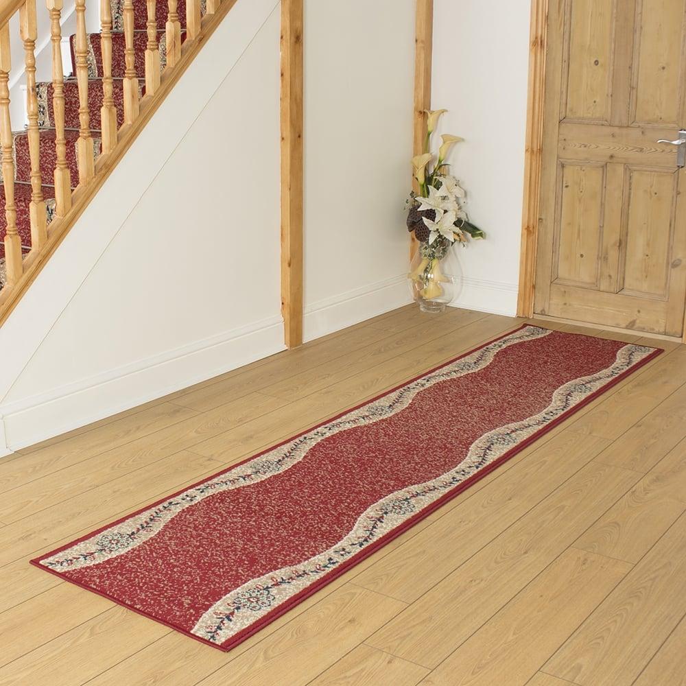 Wave Red Hallway Carpet Runner Rug Mat For Hall Extra
