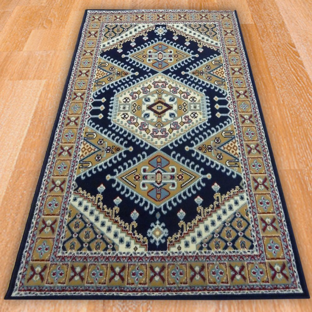 Blue Traditional Pattern Rug Carpet Runners Uk