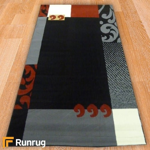 Range 110 - Black, Grey & Red Border Rug