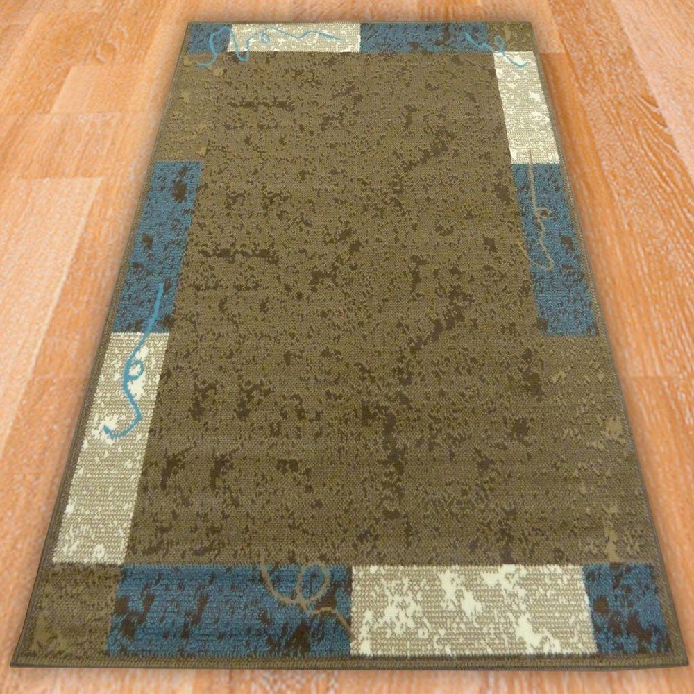 Brown Amp Blue Panel Border Rug Carpet Runners Uk