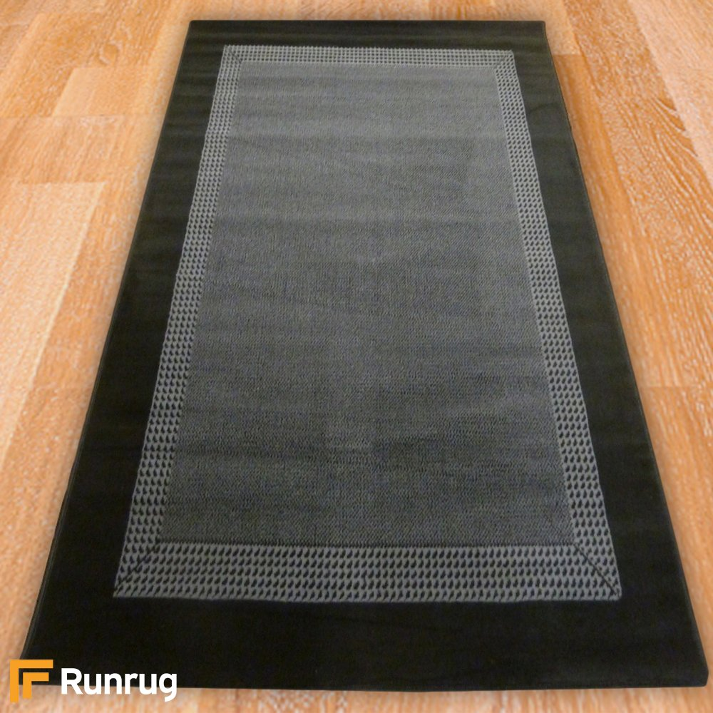 Black Solid Border Rug Carpet Runners Uk