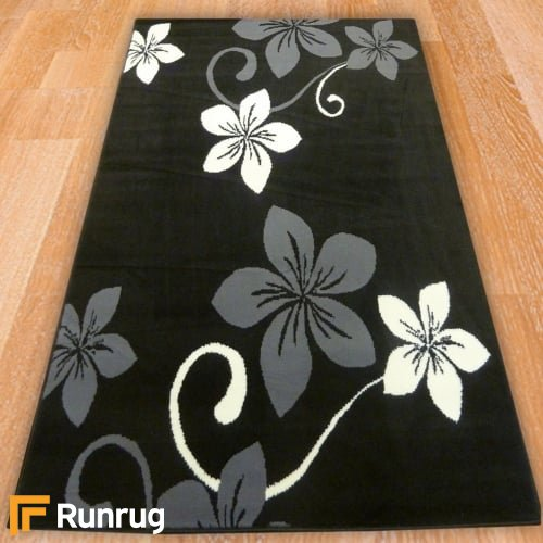 Range 124 - Black / Grey Floral Rug
