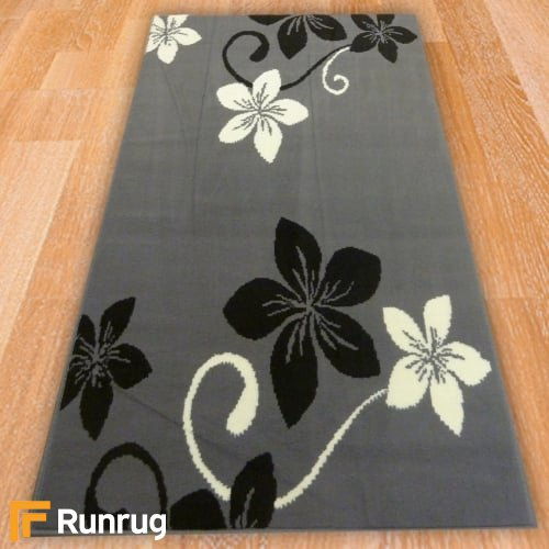 Range 125 - Grey / Black Floral Rug