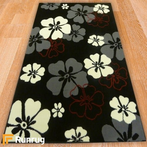 Range 130 - Black Small Flowers Rug