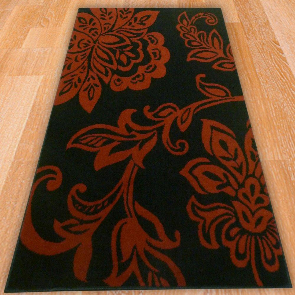 Black Back Gorund Floral Rug Carpet Runners Uk