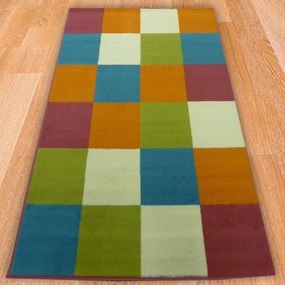 Multicoloured Squares Children S Rug Carpet Runners Uk