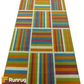 Range 18 - Multi Colour Box Stripe Bedroom Rug