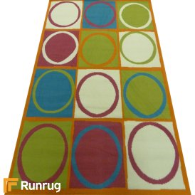 Range 19 - Multi Colour Box Circle Bedroom Rug