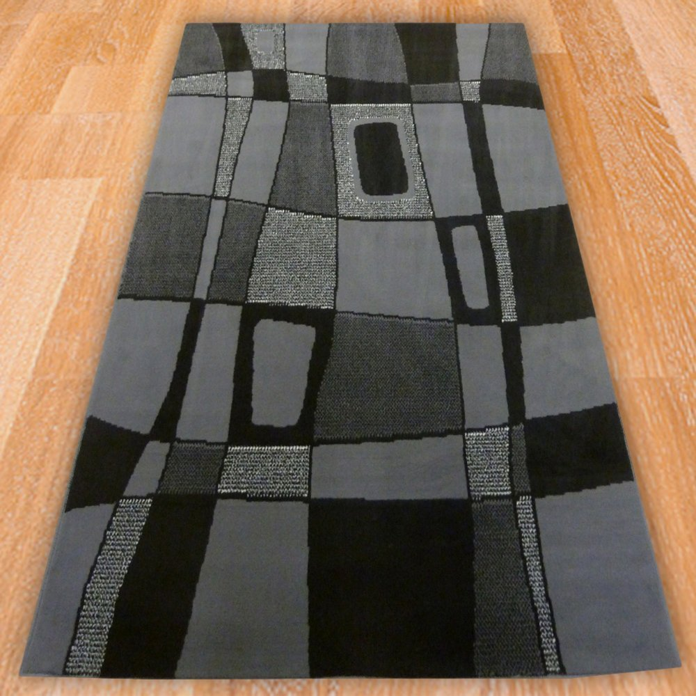 Grey Abstract Style Rug Carpet Runners Uk