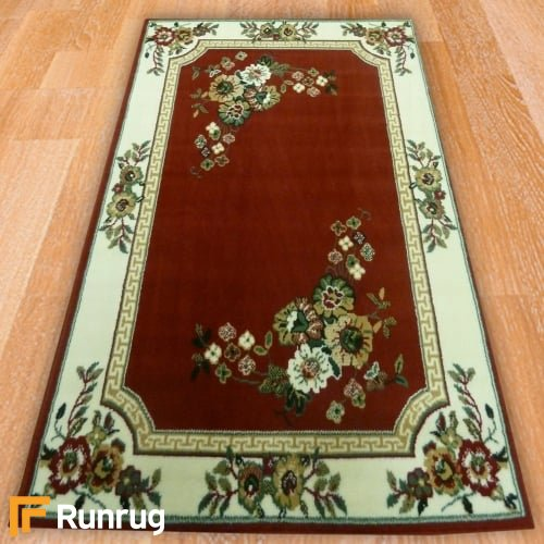 Range 91 - Red Floral / White Border Rug