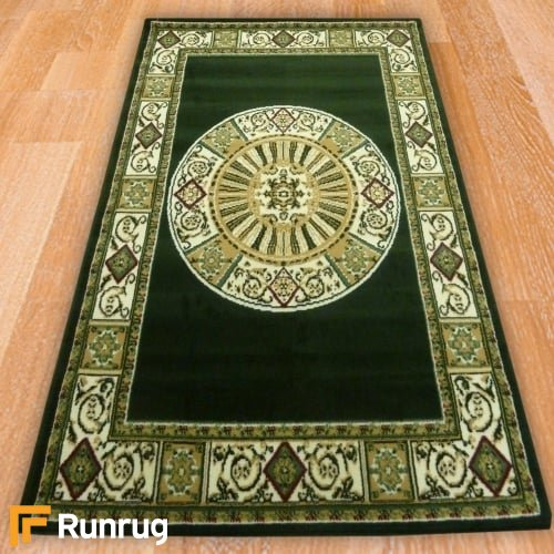 Range 95 - Green Traditional Panel Border Rug