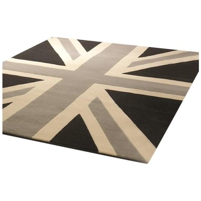 Teppich retro funky buckingham grau schwarz modern