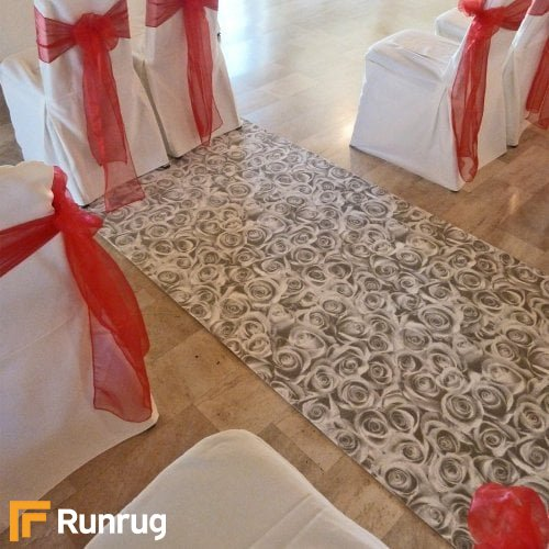 Rose - Silver Wedding Aisle Carpet Runner