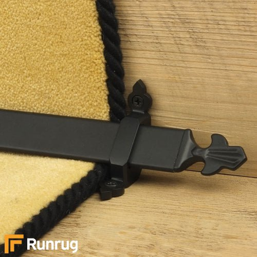 Royal Black Finish Louis Stair Carpet Runner Rods