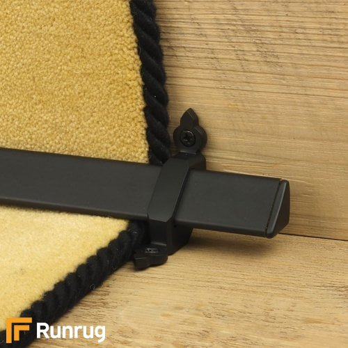 Royal Black Finish Vue Stair Carpet Runner Rods