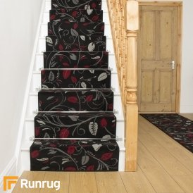 Scroll Black Stair Runner