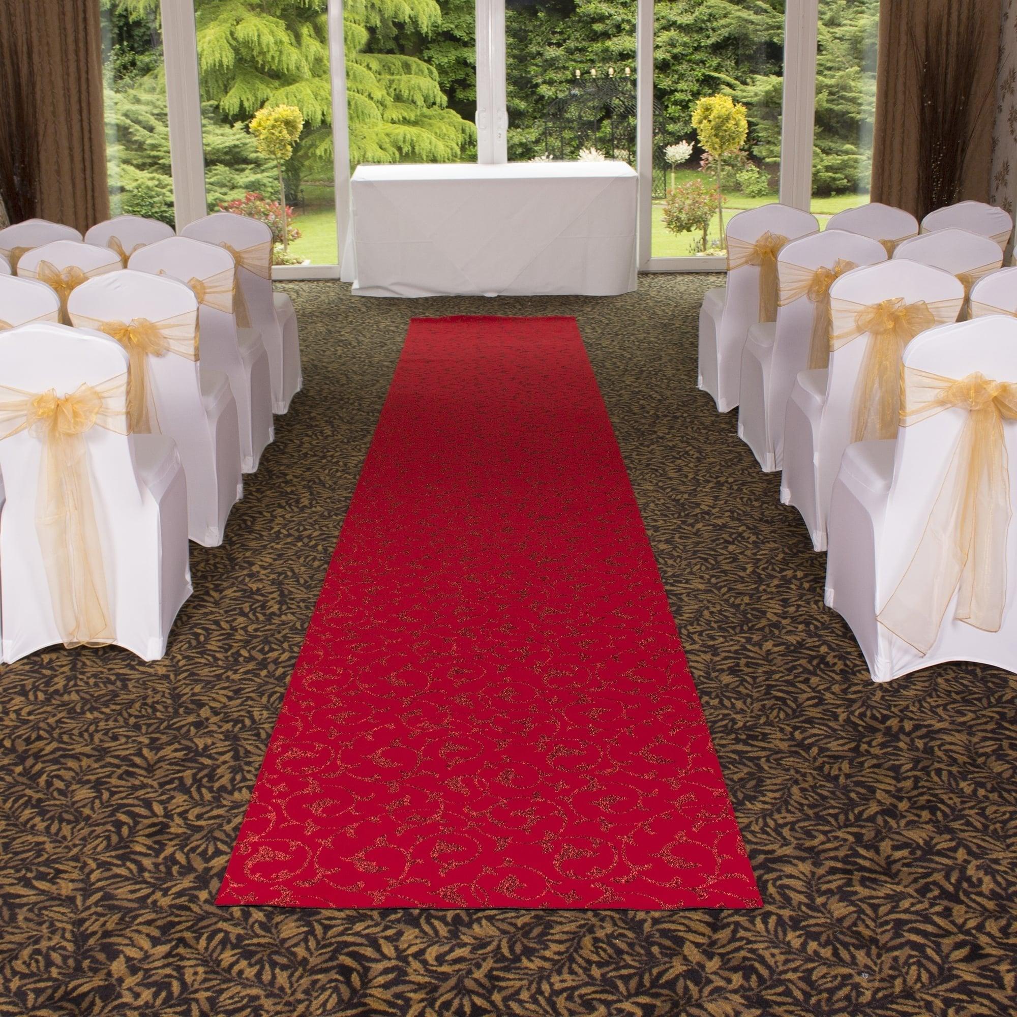 Scroll Red Wedding Aisle VIP Event Carpet Runner At Carpet Runners UK