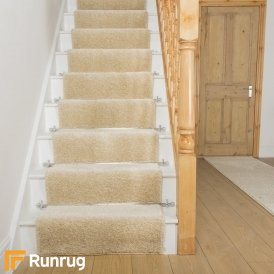 Shaggy Cream Stair Runner