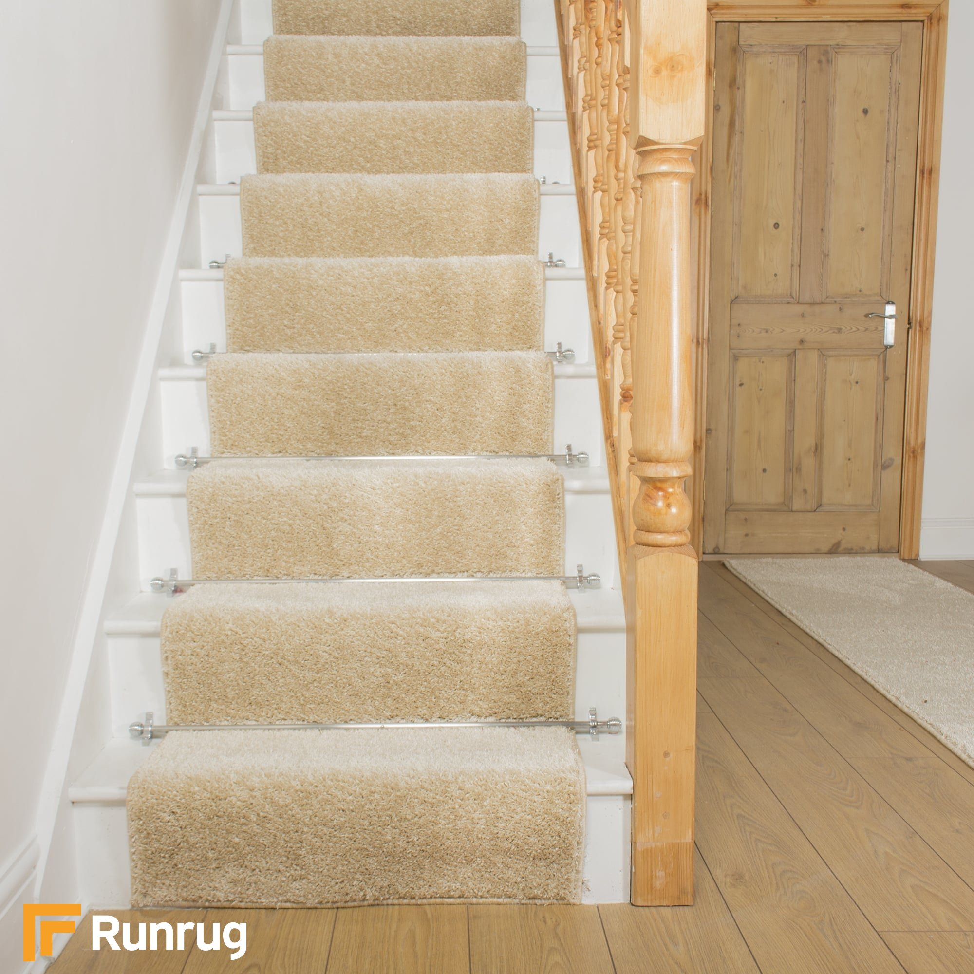 Shaggy Cream Stair Runner