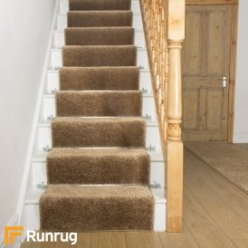Shaggy Light Brown Stair Runner