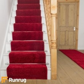 Shaggy Red Stair Runner