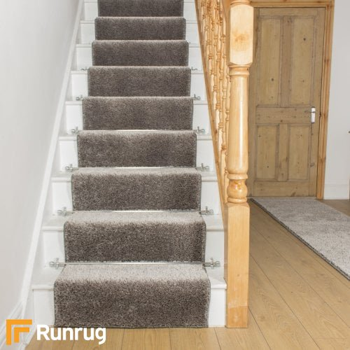Shaggy Silver Grey Stair Runner
