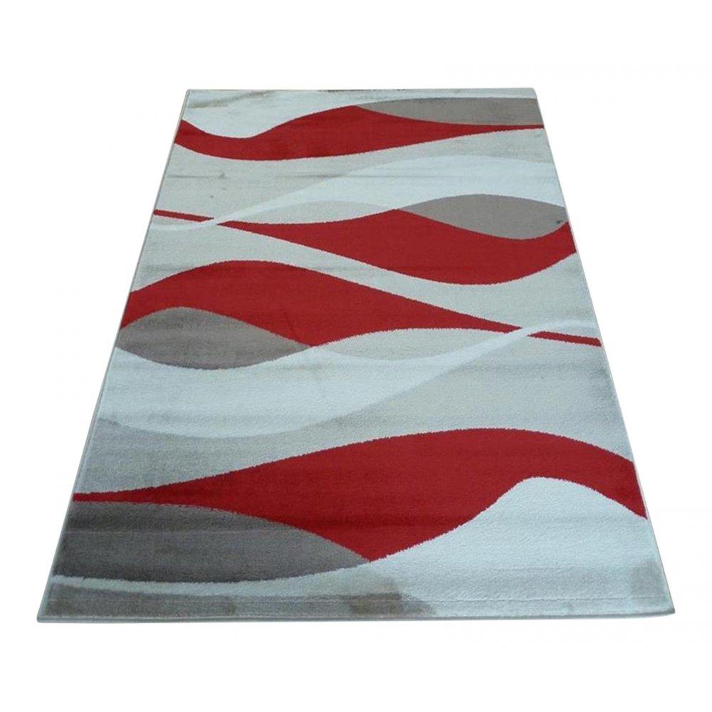 Red Sincerity Modern Contour Rug Carpet Runners UK