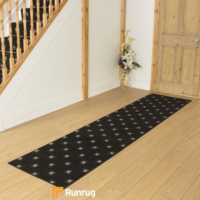 Square Black Hall Runner