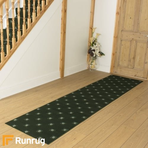 Square Dark Green Hall Runner