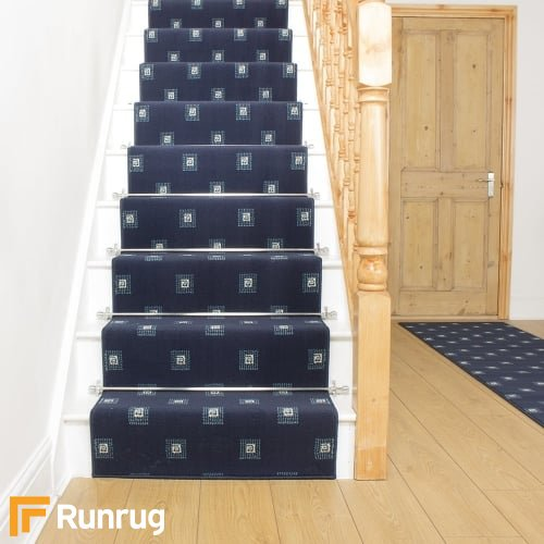 Square Navy Blue Stair Runner