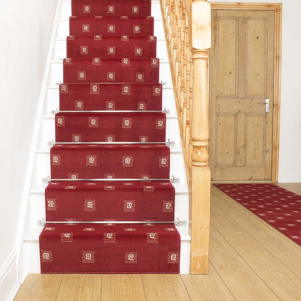 square red stair carpet runner for narrow staircase. Black Bedroom Furniture Sets. Home Design Ideas
