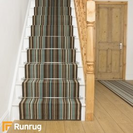 Strike Blue Stripe Stair Runner