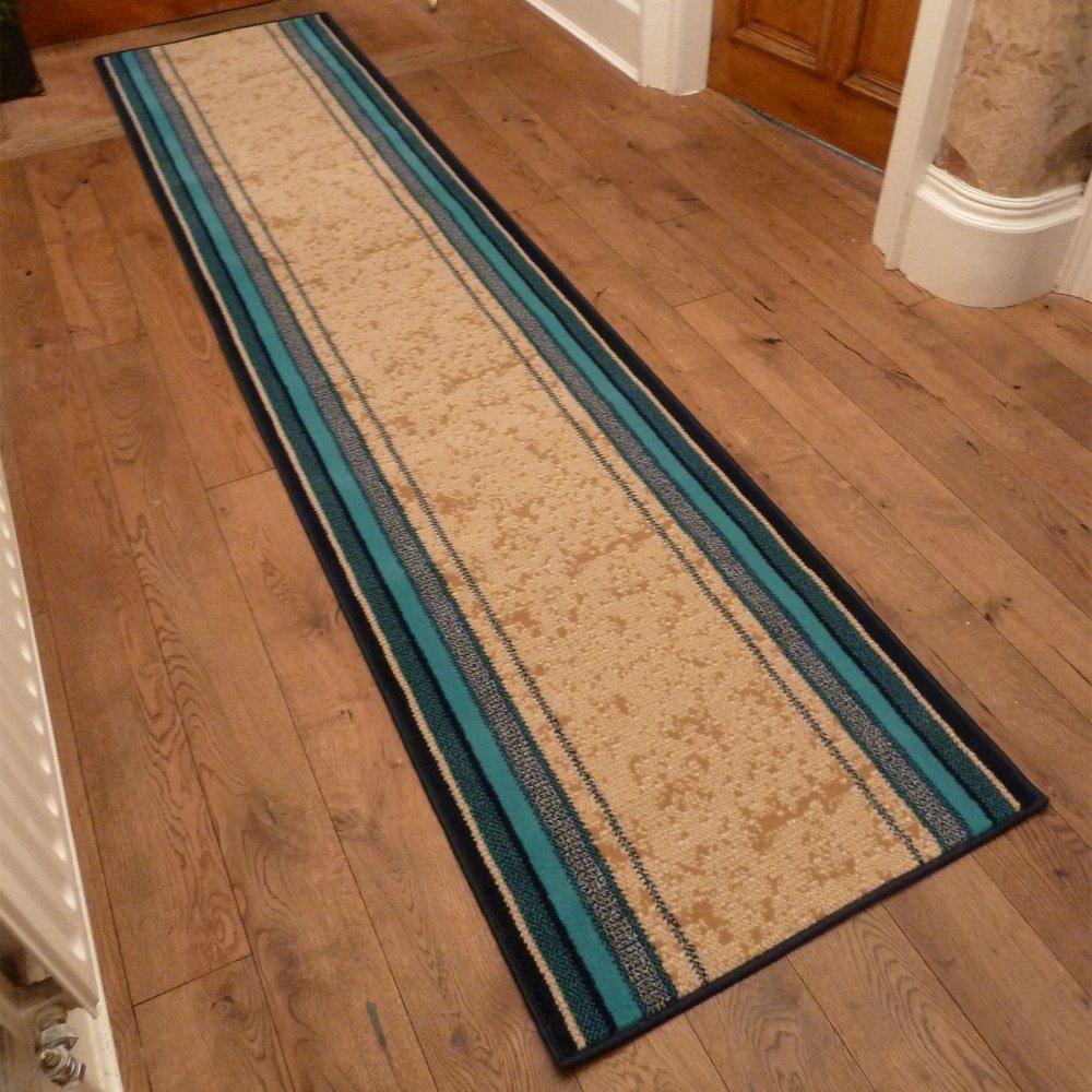 Blue Hall Runner Rug Stripe Carpet Runners Uk