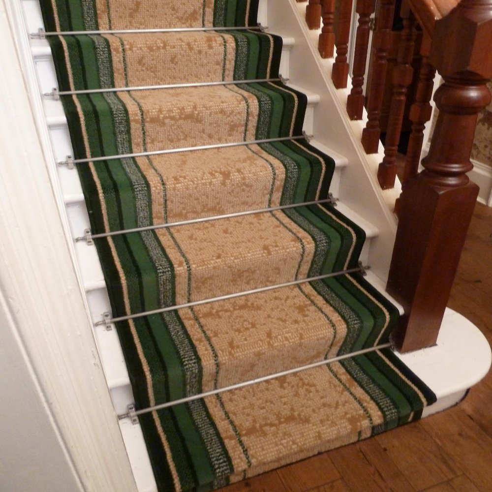 Green Stair Carpet Runner - Striped - Carpet Runners UK