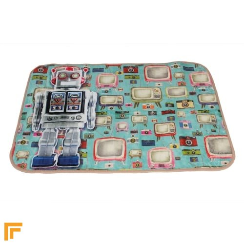 Super Soft Cushion - Funky Robot Blue/Multi