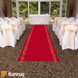 Swirl Border - Red Wedding Aisle Carpet Runner