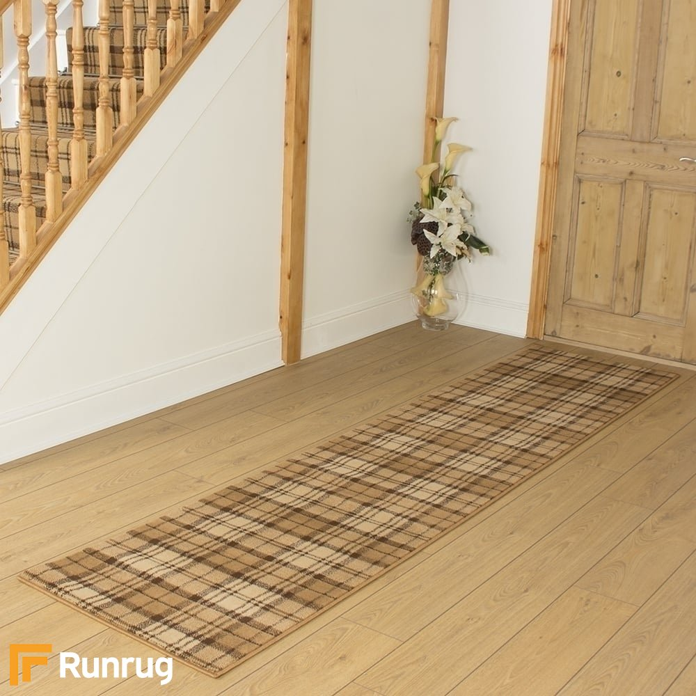 Available in any length up to 30m Tartan Gold Hall /& Stair Carpet Runner