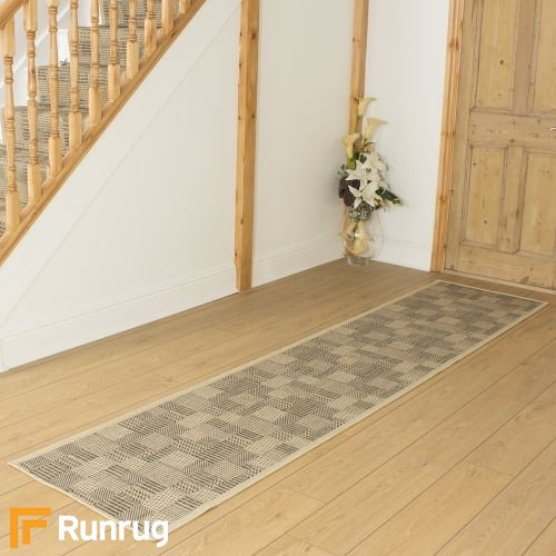 Tetris Tweed Beige Hall Runner