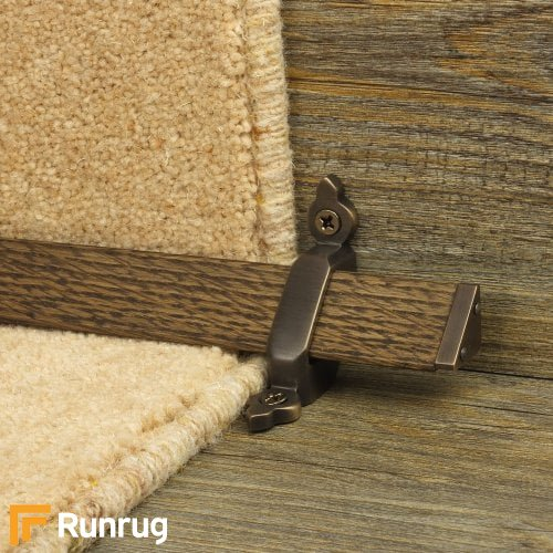Tudor Antique Bronze Finish Dark Wood Stair Carpet Runner Rods