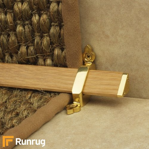 Tudor Brass Finish Light Wood Stair Carpet Runner Rods