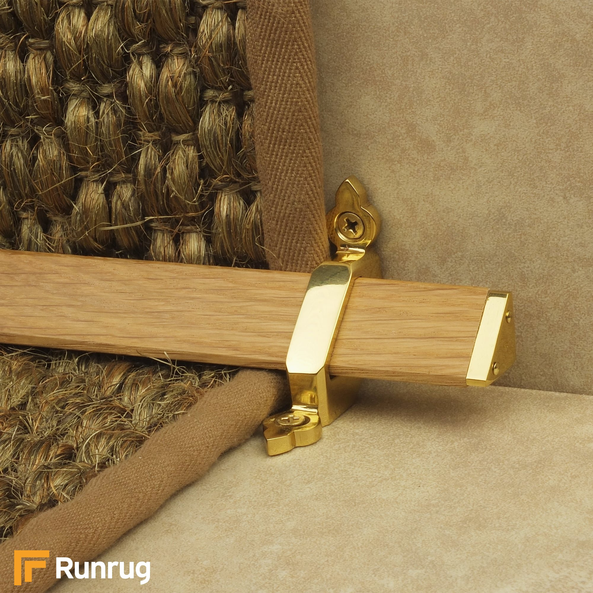 Brass Carpet Stair Rods   Tudor Brass Finish Light Wood Stair Carpet Runner  Rods