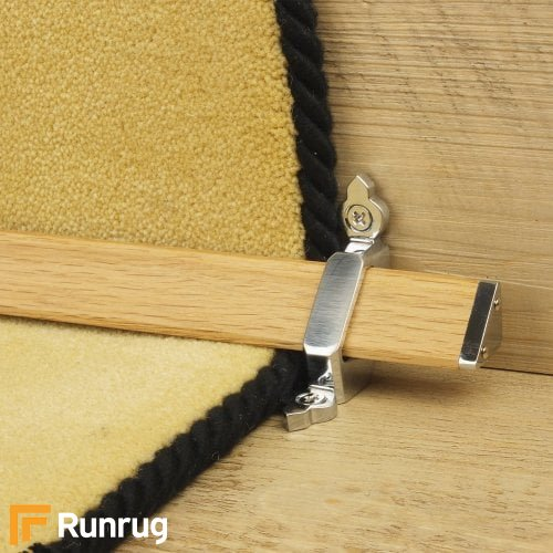 Tudor Brushed Chrome Finish Light Wood Stair Carpet Runner Rods