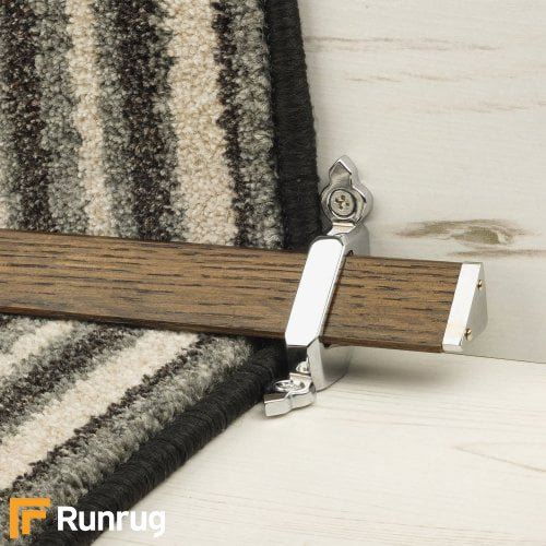 Tudor Chrome Finish Dark Wood Stair Carpet Runner Rods